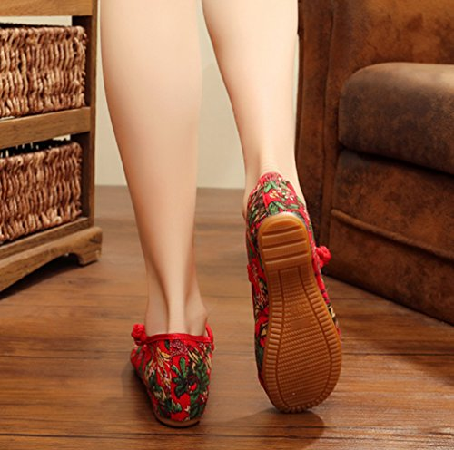 Avacostume Femmes Fleur Impression Appartements Vintage Mary Jane Robe Chaussures Rouge