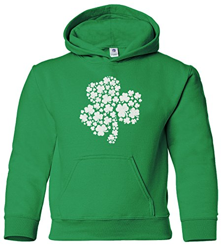 Threadrock Big Girls' Shamrock of Shamrocks Youth Hoodie Sweatshirt M Kelly Green (Kids Sweatshirt Shamrock)