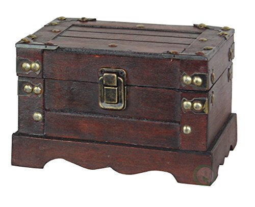 Old Style Wooden Chest in Antique Cherry (Small) by Decorative Gifts