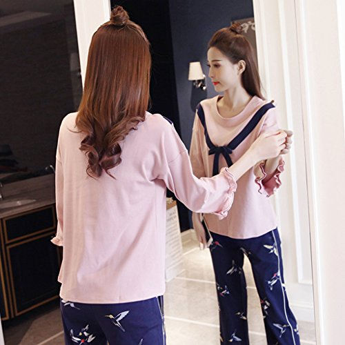 Pyjama costume de pyjama vêtements de nuit vêtements de nuit ensemble deux pièces dame coton rose bleu foncé automne printemps hiver doux respirant bowknot ( Size : S )