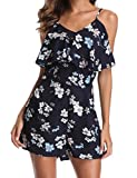 MISS MOLY Rompers for Women Summer Off Shoulder Sleeveless Straps Floral Print Ruched Short Jumpsuit