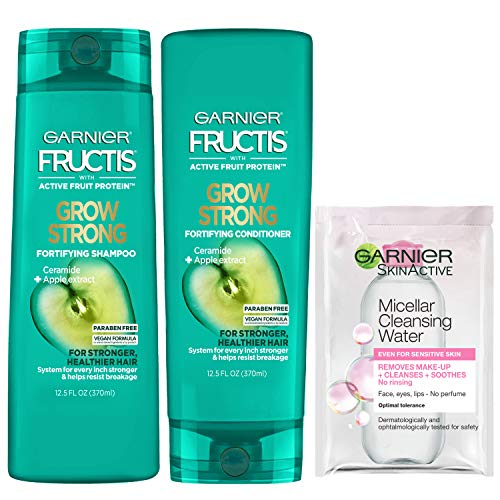 Garnier Haircare Fructis Shampoo and Conditioner Kit for Stronger Healthier Shinier Hair 12.5 Fl Oz Ea With Micellar…