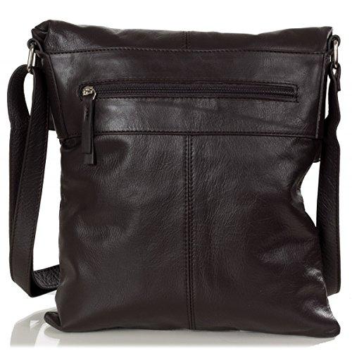 Bolso - La bolsa de mensajero hecha de cuero italiano suave (30 x 32 x 2 cm) Brown (marrón oscuro)