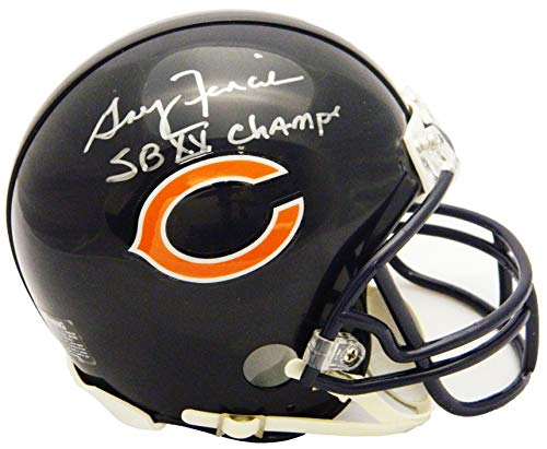 Helmet Riddell Champs Mini (Gary Fencik Signed Chicago Bears Riddell Mini Helmet w/SB XX Champs)