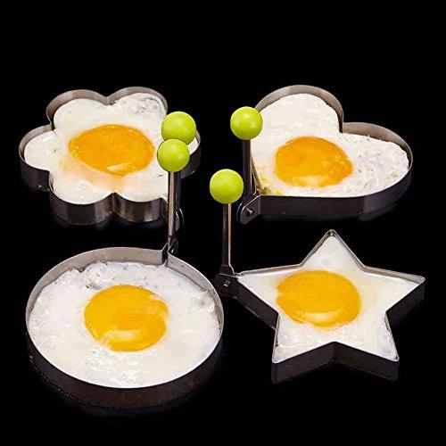 Neon 174 5pcs Stainless Steel Fried Egg Mold Pancake Mold Kitchen Tool Pancake Rings With Oil Brush