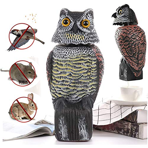 uhmhome Scarecrow Owl Decoy Statue Movable Realistic Scary Sounds Fake Owl Outdoor Pest Bird Deterrent, Hand-Painted Garden Protector, Scares Away Squirrels, Pigeons, Rabbits