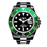 LOREO Mens GMT Silver Stainless Steel Sapphire Green Rotating bezel Black dial Automatic Watch
