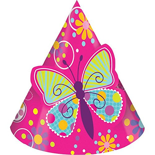 8-Count Birthday Party Hats, Butterfly Sparkle -