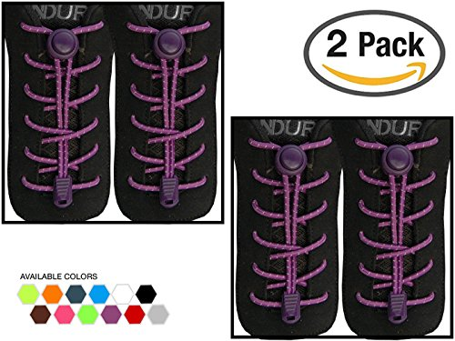 StoutGears No Tie Shoelaces with Lock System | Elastic Shoe Laces for Sneakers (2 Packs, Purple-Purple) (Shoes Athletic Adult 2)