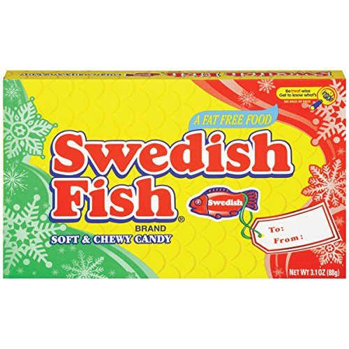 Swedish Fish Fat Free Soft & Chewy Candy Holiday Theater Box, 3.1 Ounce (Pack Of 12)