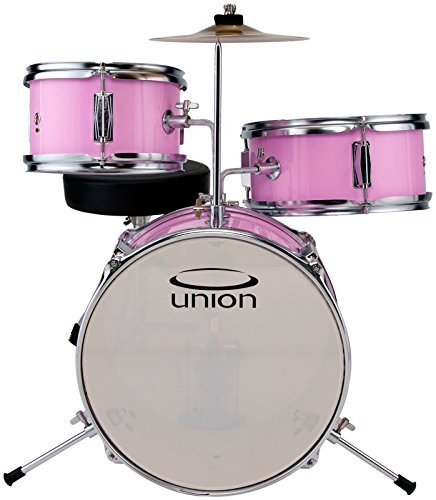Union DBJ3067(PK) 3-Piece Mini Toy Drumset with Hardware, Cymbals and Throne - Pink -
