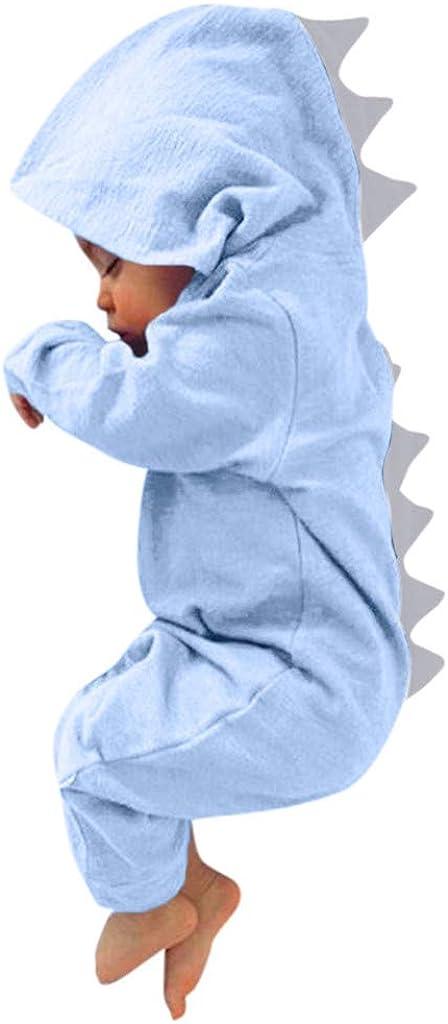 callm Infant Toddler Baby Girls Boys Dinosaur Hoodie Romper Zip Jumpsuit
