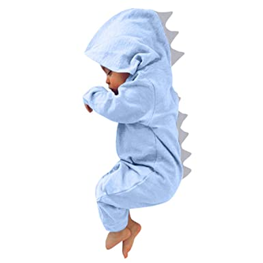 60fd3540f04 Scaling❤ Newborn Baby Girl Boys Romper Summer Dinosaur Hooded Jumpsuit  Funny Cute Baby Clothes (