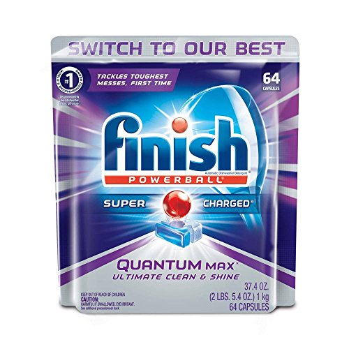 Finish Quantum Max Powerball, 64ct, Dishwasher Detergent Tablets, Ultimate Clean & (Shine Finish)
