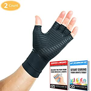 Compression Gloves Infused With Copper for Arthritis, Carpal Tunnel and Muscle or Joint Pain for Men and Women (Unisex) Other Uses: Sports, Athletes, Running, Gym, Workouts, Driving, Gaming, Cycling