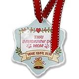 Add Your Own Custom Name, Dog & Cat Mom Thai Bangkaew Dog Christmas Ornament NEONBLOND
