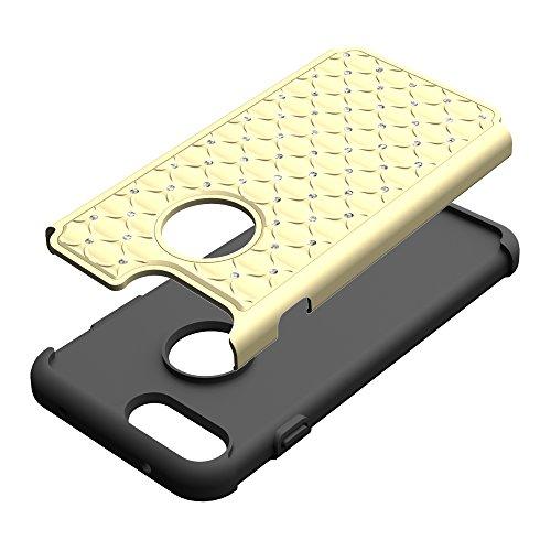 iPhone 7 plus Hülle, Valenth Diamond Hard Rückseite Hülle PC + Silikon Dual Layer Defender Case Schutzhülle für iPhone 7 Plus-goldene / Schwarz