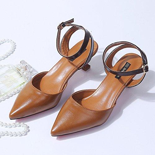 Zapatos Punta Y Femeninos Sujetadores GAOLIM Chica Versátil Y Amarillo Singles Con Tacones Multa Bajas Expuestos Altos La Una Y Sandalias Ranurada EXXUqH