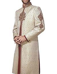 INMONARCH Hombres marfil bordado Brocado Sherwani SH0474