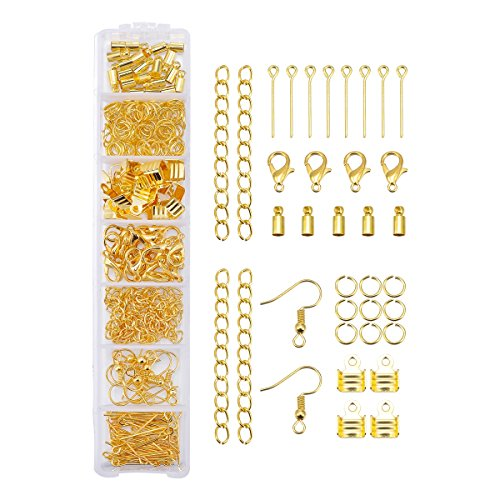Extenstion Kit (1 Box Gold Jewelry Finding Set Lobster Clasp Open Jump Ring Eye Pin Head Pin Earring Hook Leather Cord Clamp Extenstion Chain Connector Findings)