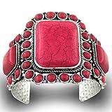 Jianxi Women Antique Rgentium Plated Base Heart Compressed Turquoise Bracelet Cuff Bangle Fashion Jewelry