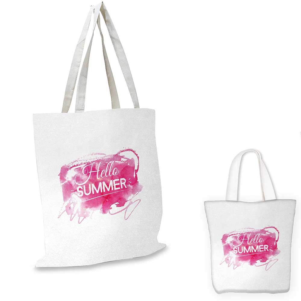 Hello Summer canvas messenger bag Vintage Style Dynamic Pink Blob and Phrase with Two Different Lettering Designs canvas beach bag Hot Pink 12x15-10