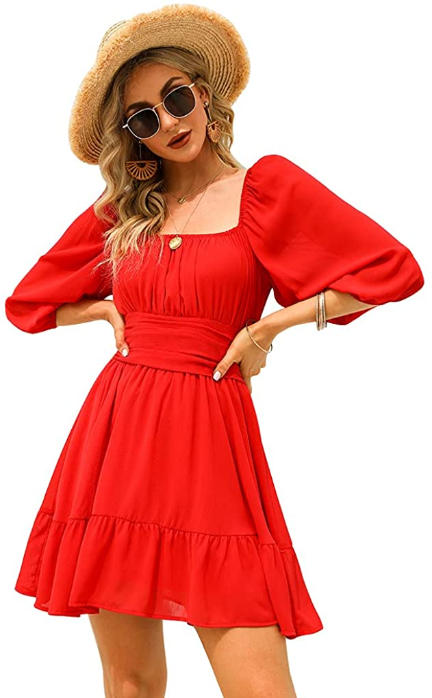 Exlura Women's Lantern Sleeve Tie Back Dress Ruffled Off Shoulder A-Line Vintage Mini Dress