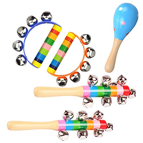 Ywong Color Rainbow Handled Wooden Sleigh Bells Jingle Stick Shaker Rattle Toys Child Early Musical Instrument Educational Tool