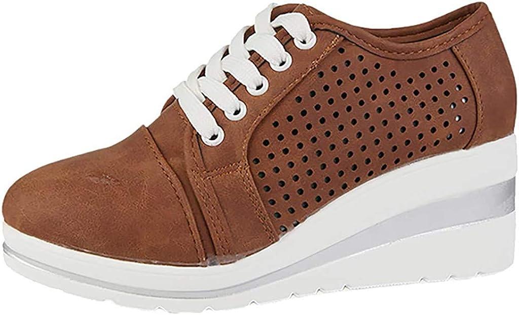 Fannyfuny Zapatos para Correr Mujer Zapatillas de Deportivo Sneakers Ligeros Zapatos Casuales de Deporte Low Top Calzado Transpirables Fitness Comodos Zapatillas de Cuña