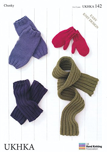 Chunky Knitting Pattern for Easy Knit Design Kids Childrens Mittens Leg Warmers & Scarf (UKHKA 142)