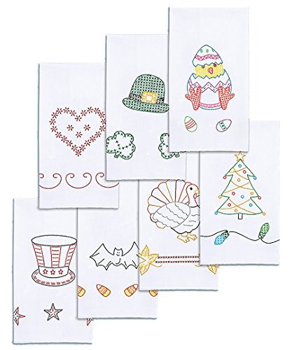 Jack Dempsey Stamped Decorative Hand Towel, 15 by 30-Inch, White, Holidays of The Year, Set of 7 Jack Dempsey Stamped Embroidery