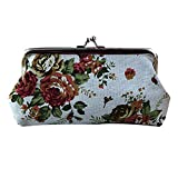 Feitengtd Women Lady Retro Vintage Flower Small Wallet Hasp Purse Clutch Bag (White, One Size)