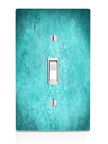 Blue Teal Aqua Vintage Grunge Design Background Light Switch Plate