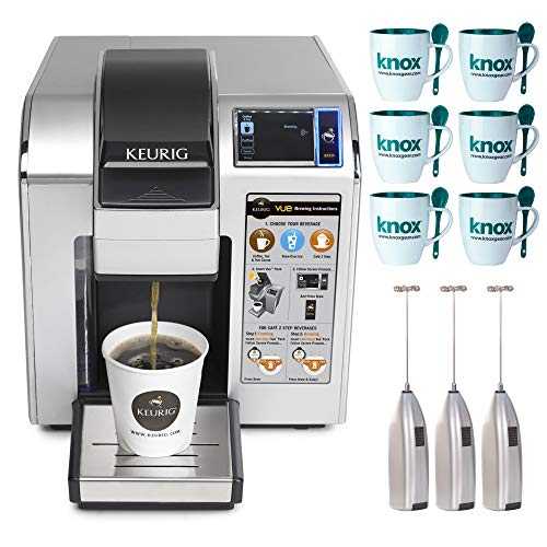 Keurig VUE V1200 Commercial Brewing System Includes Pack of 6 Mugs with Spoons and 3 Handheld Milk Frothers