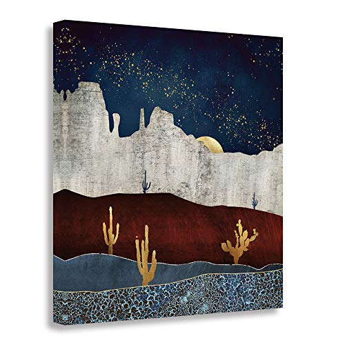 Starry Night Scene - GEVES Abstract Desert Starry Night Scene