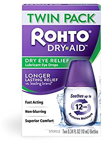 Rohto Dry-Aid Lubricant Eye Drops, 2x10mL Bottles Per Pack (Pack of 9) by Rohto