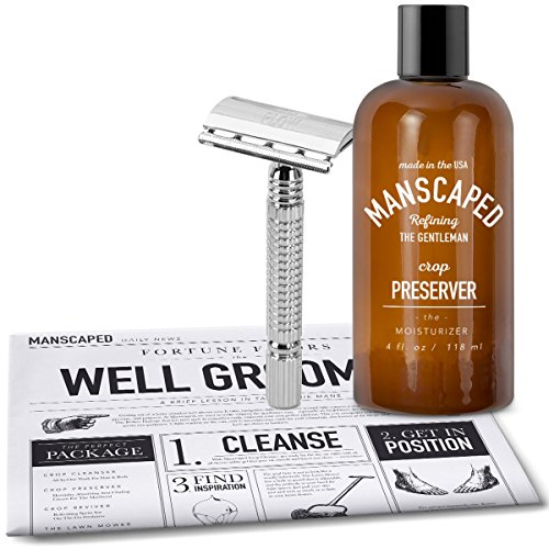 Design Scented Body Powder (Manscaping Shaving Bundle, Includes - Mens Double Edged Safety Razor blade with Built in Guard and Ball Deodorant + Free Disposable Shaving Mat)