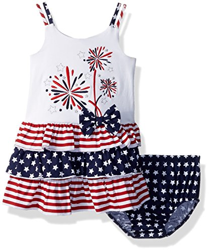 Bonnie Baby Baby Girls Appliqued Tutu Dress and Panty Set, Fireworks, 6-9 Months