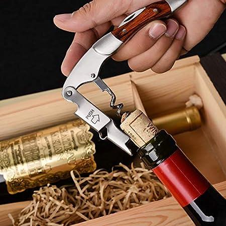 yywl Sacacorchos, abrebotellas de acero inoxidable, sacacorchos, abridor de botellas, portátil, mango de madera, cuchillo de vino, plegable, herramienta de cocina