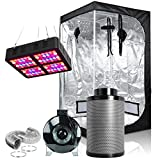 Hongruilite 600W Full Spectrum LED Grow Light + 36''x36''x72'' Grow Tent + 4' Inline Fan Carbon Air Filter Ducting Combo for Indoor Plant Growing (600W LED+36''x36''x72''Grow Tent+4''Filter Kit)