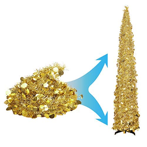 Joy-Leo 5 Foot Gold Yellow Pop-up Collapsible Tinsel Pencil Indoor Christmas Tree with Shiny Sequins for Fireplace&Party&Office &Classroom, Champagne Folding Artificial Xmas Trees for Home Decoration