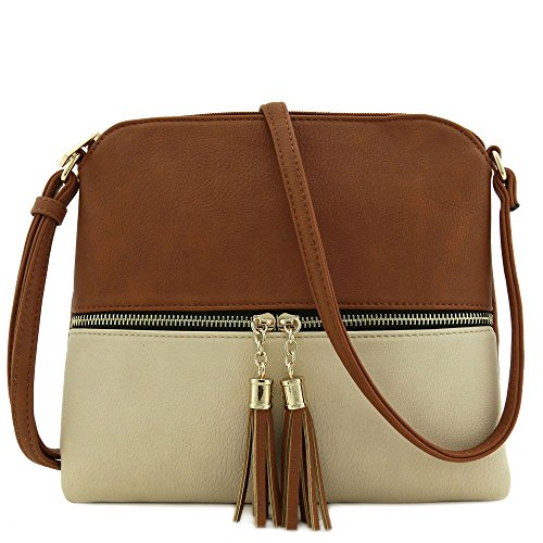 City Bag Hardware (Lightweight Medium Crossbody Bag with Tassel (Cognac/Nude))