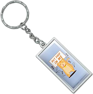 Graphics and More Put Food in Me Hungry Cat Funny Humor Rectangle Keychain in Chrome Plated Metal