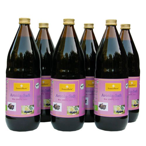 BIO Aronia Saft, 100 % Direktsaft in der 1000ml Glasflasche, 6 x 1000ml