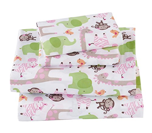 Mk Collection 3pc Sheet Set Twin Size Monkey Giraffe Zebra Elephant Green Pink White New # Monkey (Twin)