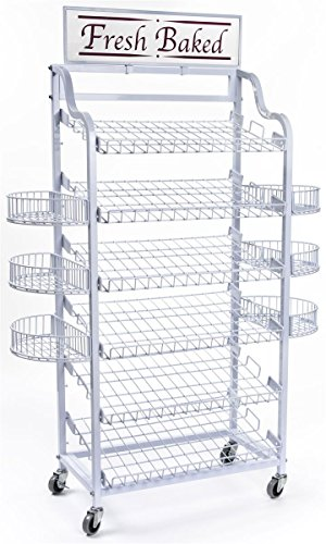 Floor-standing Bakers Rack with 6 Adjustable Shelves and 6 Side Baskets, Shelves Lay Flat or Tilt Forward, Wire Storage Shelving Includes 2 Sign Holders,  inchFresh Baked inch Sign Included (White)