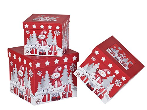 (3 Piece Christmas Nesting Gift Boxes; Elegant and Fun Snowman Designs Nested Hard Christmas Boxes Perfect for Wrapping Presents or Xmas Decor)