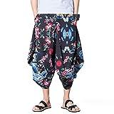 INVACHI Men's Elastic Waist Wide Leg Cotton Harem Baggy Pants Patchwork Linen Capri Trousers Available XS-4XL (XXXX-Large, Red)
