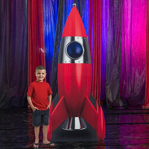 Rocket Ship Standee Prop Cutout Standup Photo Booth Prop Background Backdrop Party Decoration Decor Scene Setter Cardboard -