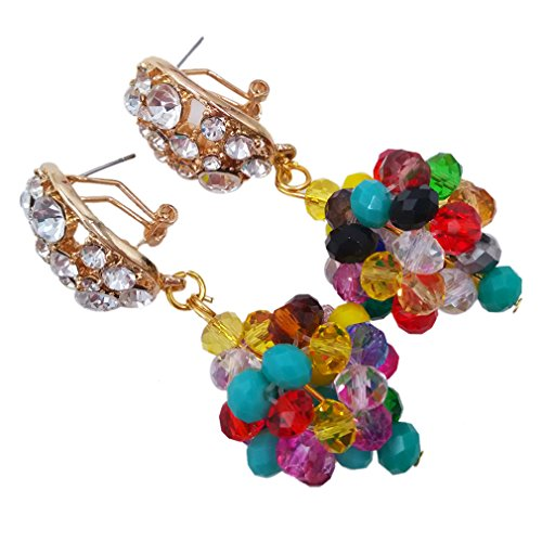 laanc African Beads 1 Pair Earrings Gray Red Gold Champagne Silver Multicolor Crystal 1 Balls Findings Wedding Bridal (Multicolor)